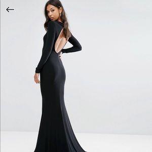 ASOS Open Back Black Fishtail Gown - Size 4